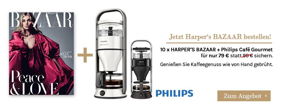 Jubiläumsangebot: 10 x HARPER'S BAZAAR + Philips Café Gourmet für nur 79 € sichern!
